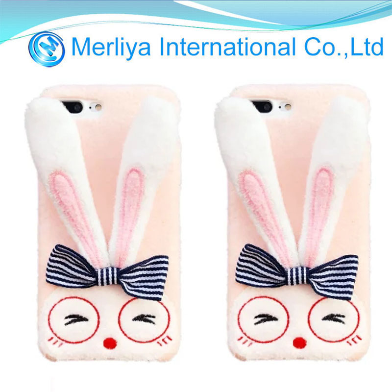 3D Cute Bunny Rabbit Fur Plush Fuzzy Fluffy Soft Phone Case Cover For Iphone 7/7plus/8/8plus