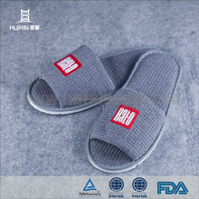 JET-SL-003 Personalized open toe cotton waffle hotel slippers
