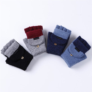 Wholesale Most Popular Cheap Winter Acrylic Wool Fingerless Knitted Mittens Gloves