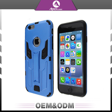 Hybrid Dual Layers Scratch Resistant TPU / PU Armor Slim Case Kickstand Phone Case For iPhone 6/6S