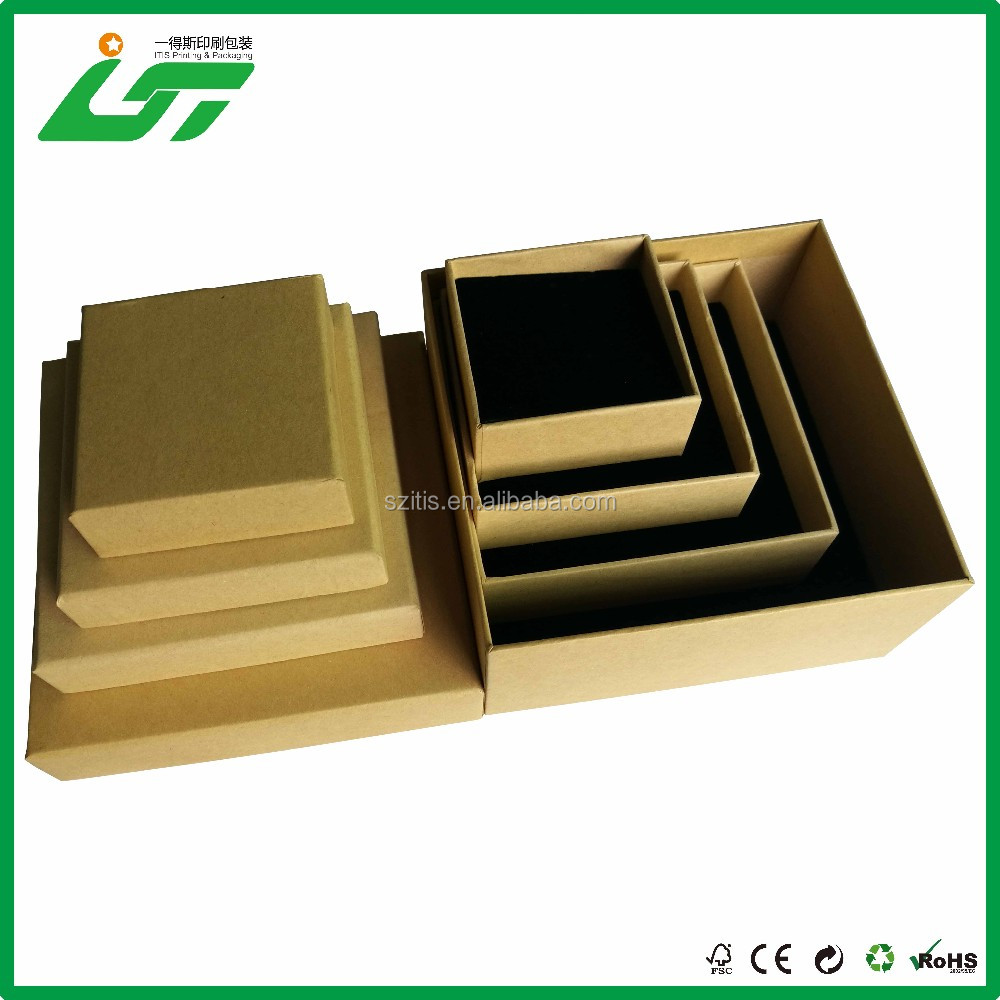 Hard Small Cardboard brown Kraft Ring Box and Ring Bearer Box and Wedding Small Paperboard Jewelry Box