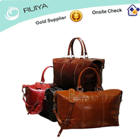 Italian Polished Calf-skin Leather Medium Duffle Bag with smart contrast stitching Classic Weekend Bag-JC-4103
