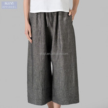 cotton linen trousers ladies 2017 fashion Straight Leg gray color casual loose elastic waist wide leg pants women linen pants