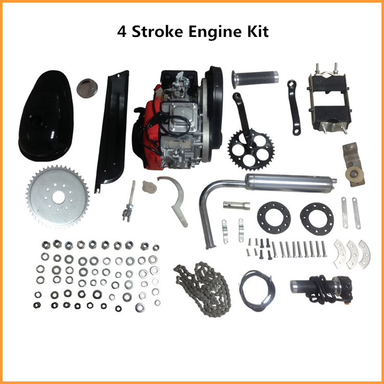 Silver 49cc 4 stroke single cylinder Touring bicycle engine parts motorized bike engines for adult