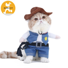 Pet Costume West CowBoy Uniform with Hat Funny Dog Cowboy Clothing Halloween Costume for Small Dog Cat