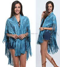 Women's Suedette Cut Out Asymmetric Fringed Cape Kimono Blouse with Tassel