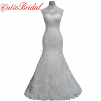 High Neck Bridal Wedding Dress Zip With Buttons Sheer Neck Lace Mermaid Wedding Gowns