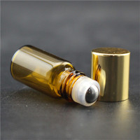 hot sale empty 3ml mini amber Glass Roll On Bottles With Stainless Steel Roller Ball for Essential Oil