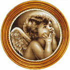 Custom Hand Made Round Brown Angel Cross Stitch