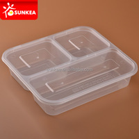 3 compartments microwave safe food container