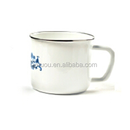 High Quality Printed Enamel Mug with Enamel Coating Rolled Edge