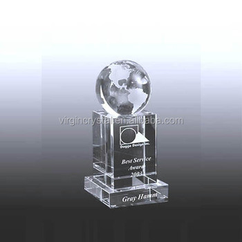 Creative Crystal Hand Holds Globe Trophy,Etched Crystal Trophy