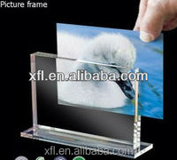 Personal polished standing inserted acrylic magnet photo frame, plexiglass desktop picture frame