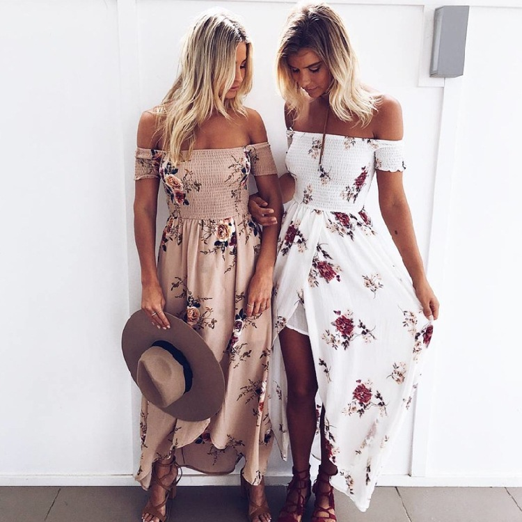 2017 New Arrivel Hot Summer Wrapped Around Chest Printed Dress Beachsuit Women Long Dress
