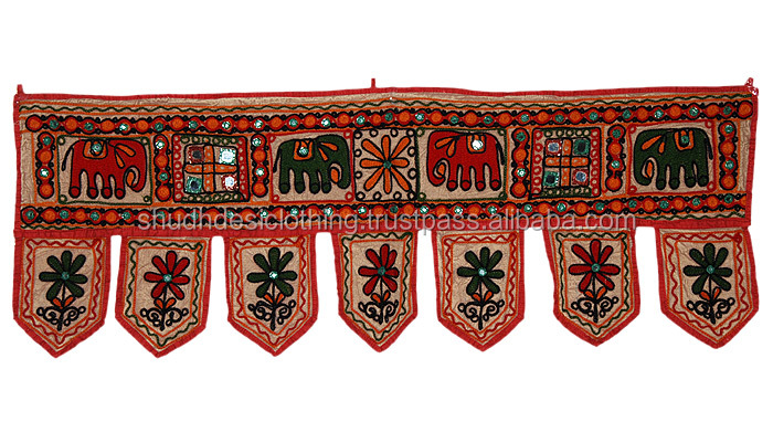 Embroidered Door Hanging Gate Decor Valance Cotton Topper Toran India