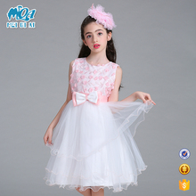 New Fashion One Piece In Stock Baby Girl Frocks Kids Lace Appliqued Pageant Party Dress LL326