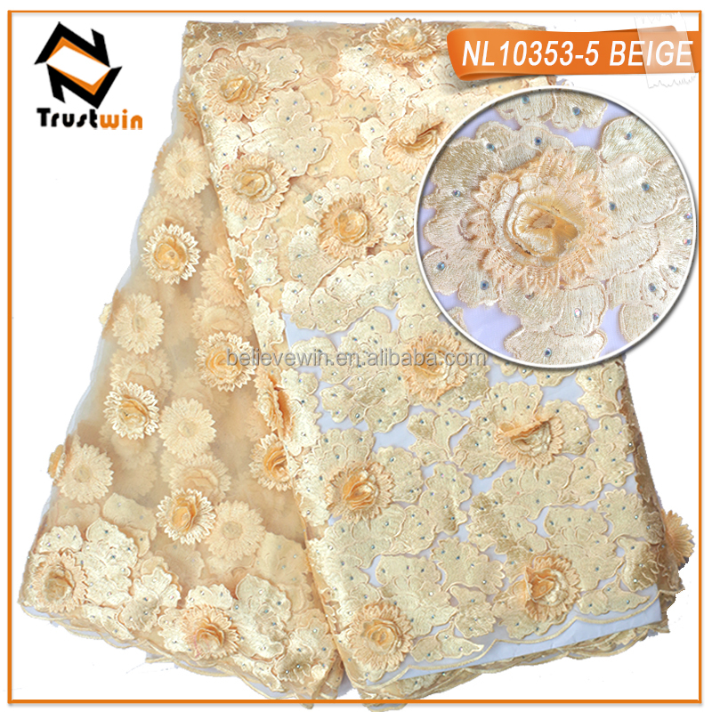 curtain fabric 3d embroidery lace guangzhou african lace NL10353-5 beige