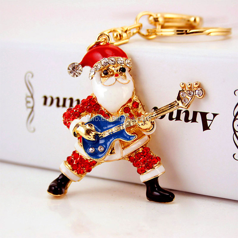 Creative Designs Santa Claus Key Ring 18K Gold Plated Crystal Rhinestine Paved Santa Claus Guitar Christmas KeyChain