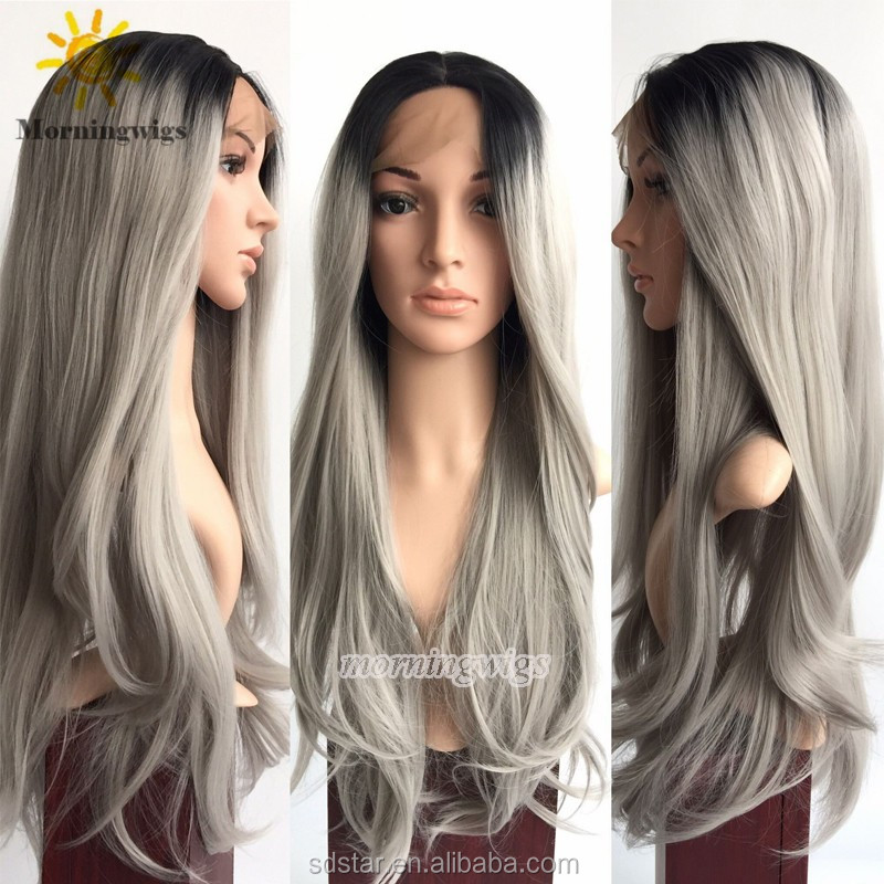 2016 Fashion Grey Wigs Natural Straight style Black Ombre Grey Synthetic Lace front Wigs For Women