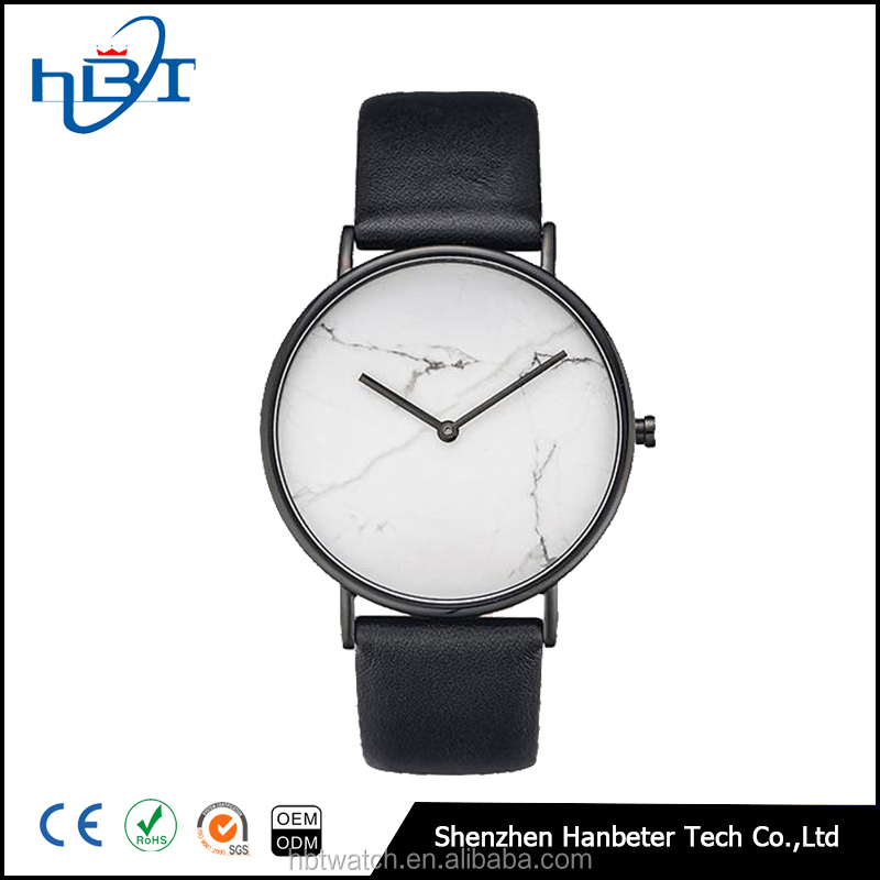 Marble stone face stainless steel singapore movement quartz brand watches for men