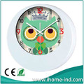 Custom advertising wall clock promotional plastic wall clock lovely cartoon printing with owl shaped