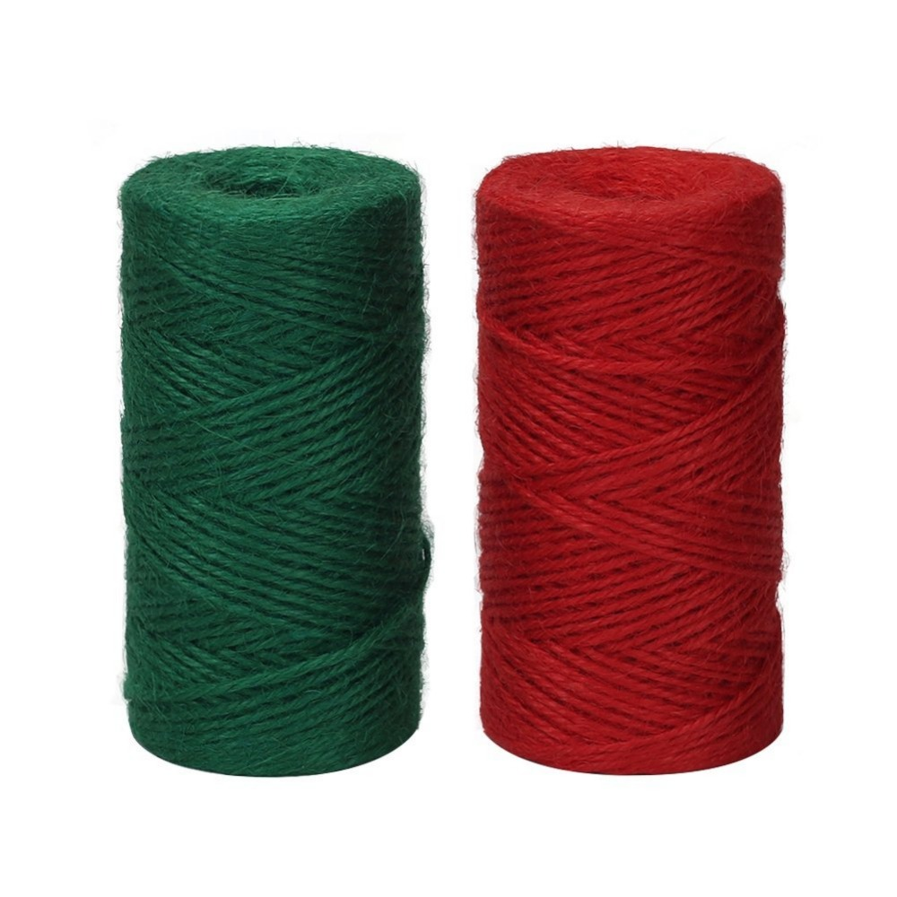 2 Rolls red and green Thick Jute String Rope for Bundling