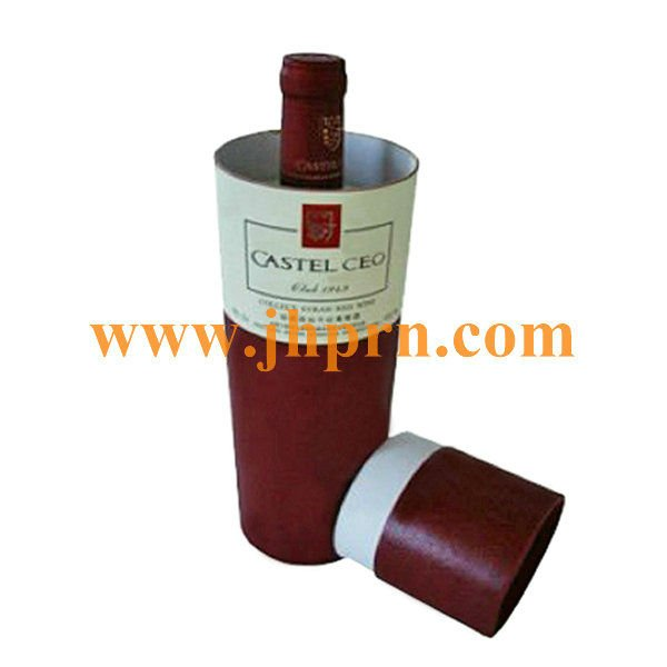 Round cardboard wine box with lid