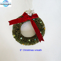 "8"" Sisal Christmas wreath decoration w/ red bowknot"