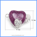 Purple Enameled Heart Shape Micro Pave Zircon Sterling Silver Box Clasps Hooks Jewelry Findings For Pearl Necklace SC-BC221
