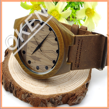 vogue men durable genuine leather wood watches promotional Christmas Gift
