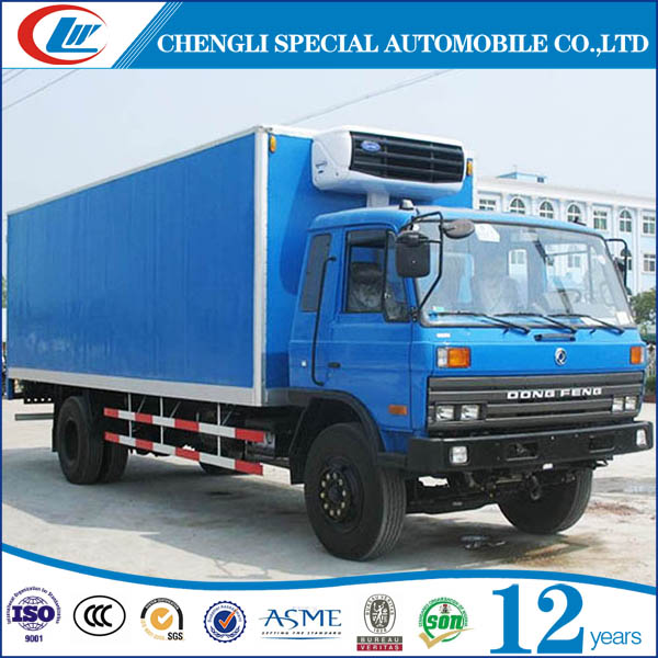 Dongfeng 170hp big volume refrigerated meat delivery van truck for sale