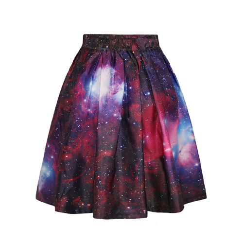 Free Shipping 2015 New Arrival Hot sale womens fashion long Skirt Galaxy 3D Digital printing Skirts for Halloween Christmas