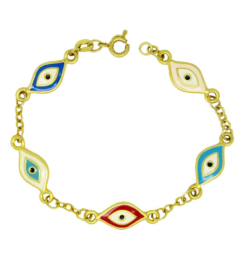Middle east gold plated evil eye bracelet jewelry #31130