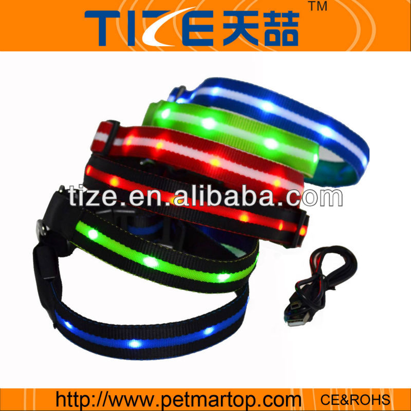 Rechargeable pet collar glowing safety dog safety led collar TZ-PET6100U