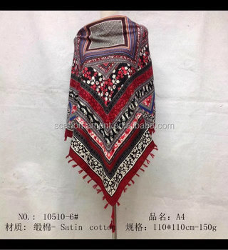 square scarf with fringe fashion scarf 20170815 110*110cm SATIN COTTON scarf