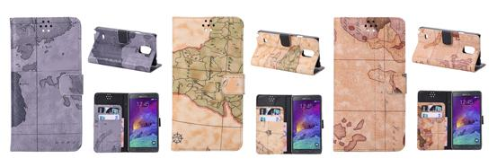 World Map Pattern with Card Slots for Samsung Galaxy Note 4 Leather Case N910 - Grey