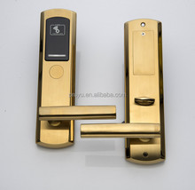 Golden stainless steel hotel door lock electronic smart card door lock