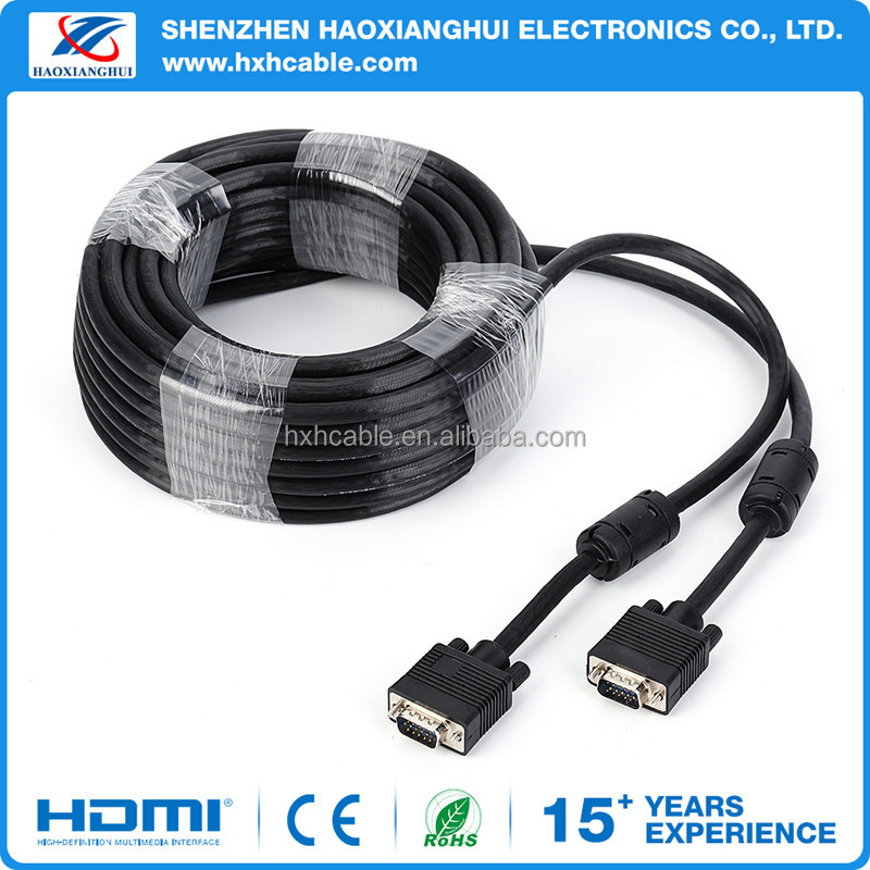 High Quality 20 Meters VGA Cable with 2 Ferrites