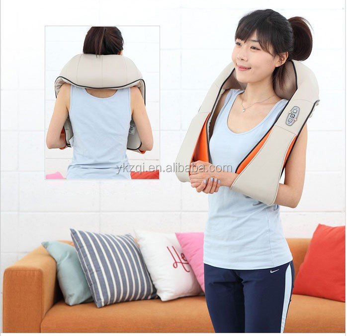 Electric shiatsu kneading neck shoulder back body massager belt with heat