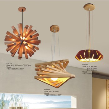 Wood Energy Saving Industrial Coffee Shop Decoration Ceiling Light Pendant Lamp Chandelier