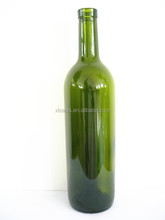 ENGRAVED 750ML ROUND GLASS ANTIQUE GREEN BOTTLE FOR LUSCIOUS WINE IN GRAPE AROME