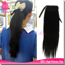 wrap around 100% human hair ponytail claw clip ponytail human hair extension