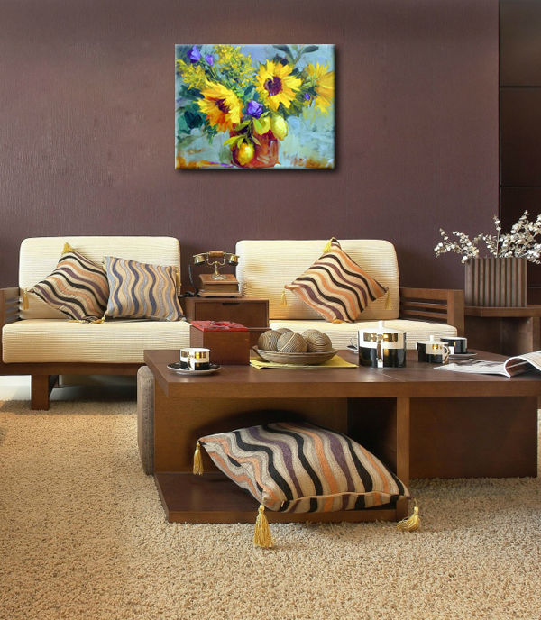 Sunflowers oil painting modern design for dining room decor