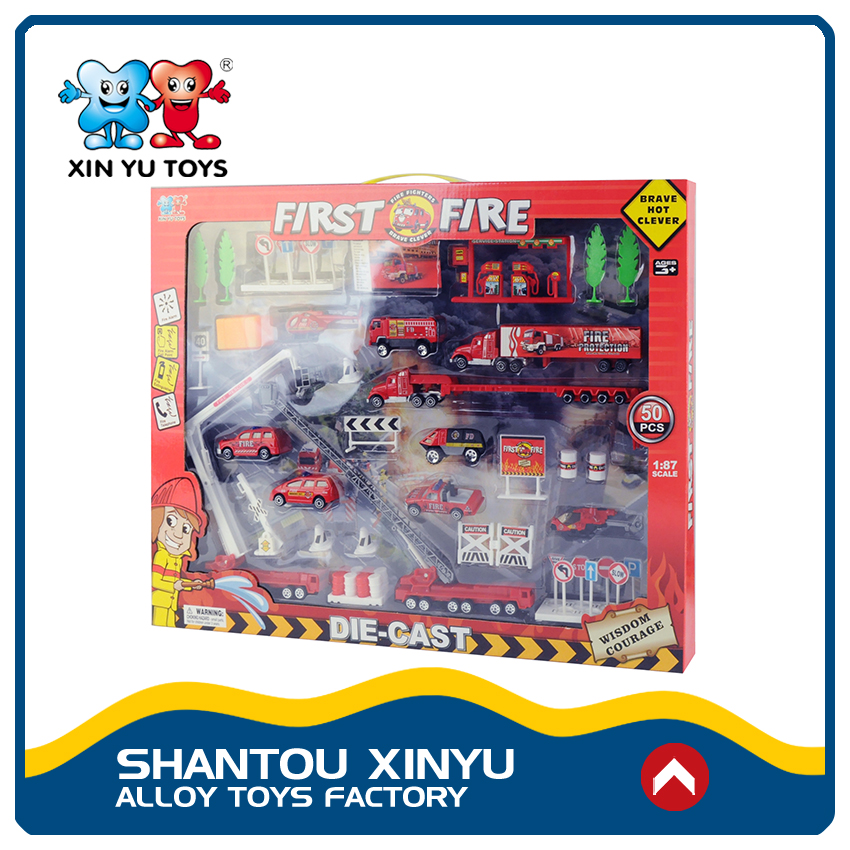 Pretend play set metal diecast 1 87 scale model fire truck toy for child