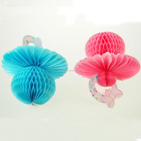 NEW Pacifier Nipple Tissue paper HoneyComb Hanging decoration for Baby shower party