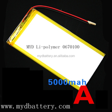 MYD specialized in lithium polymer battery 5000mah 3.7v rechargeable li-po battery