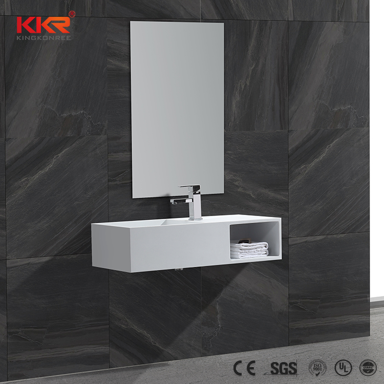 KKR Bathroom Acrylic Solid Surface Wall Hung Basin With Storage