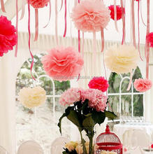 wedding flower, pom poms-hanging paper flowers