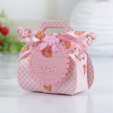 Bear Shaped DIY Gift Christening Paper Candy Box Baby Shower Party Favour Boxes with Bib Tags & Ribbons