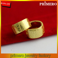 PRIMERO New Arrival Hoop Earrings Women Imitation yellow Gold Jewelry middle east style earrings Exquisite pattern Earring